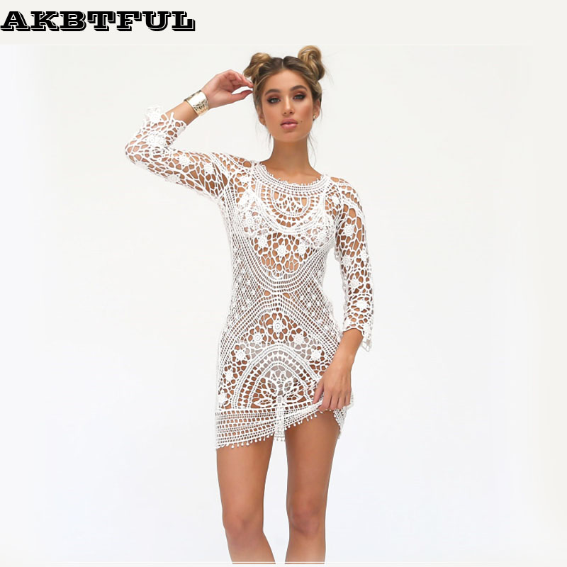 8e38c6fb1a170 lace output beach dress three quarter sleeve sexy beach outings female hot  summer backless dresses saida de beach women 2017