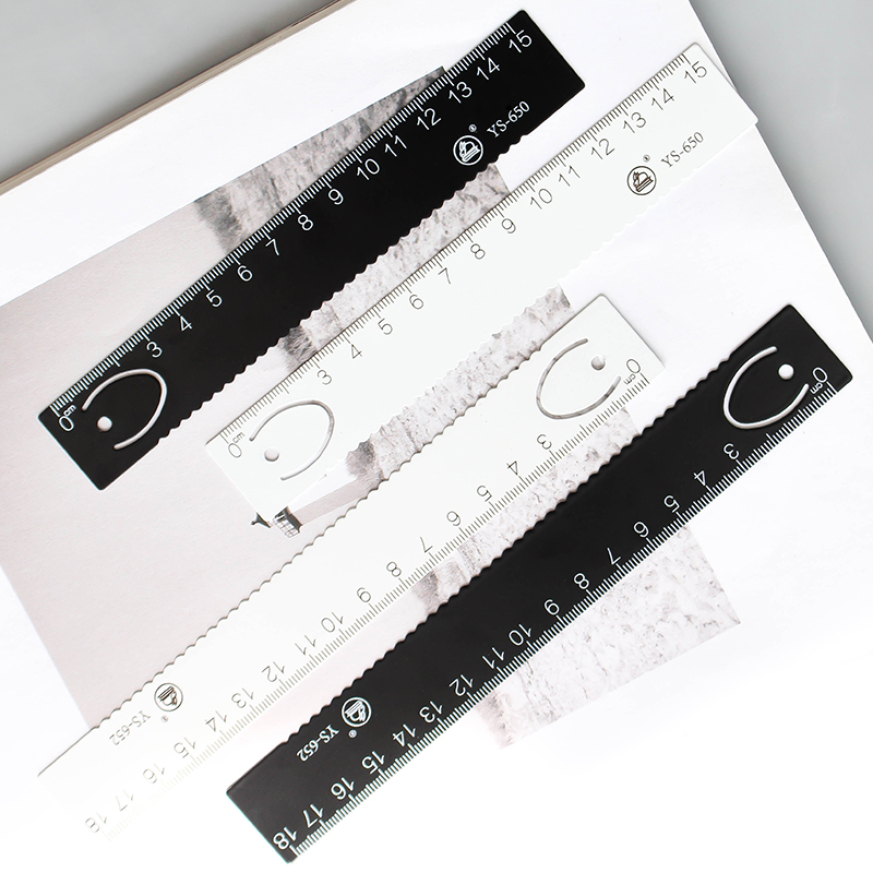 JIANWU 1pcs High Quality Steel Ruler & Metal Ruler Metal Bookmarks  Ruler For Kids  School Supplies Drawing Supplies