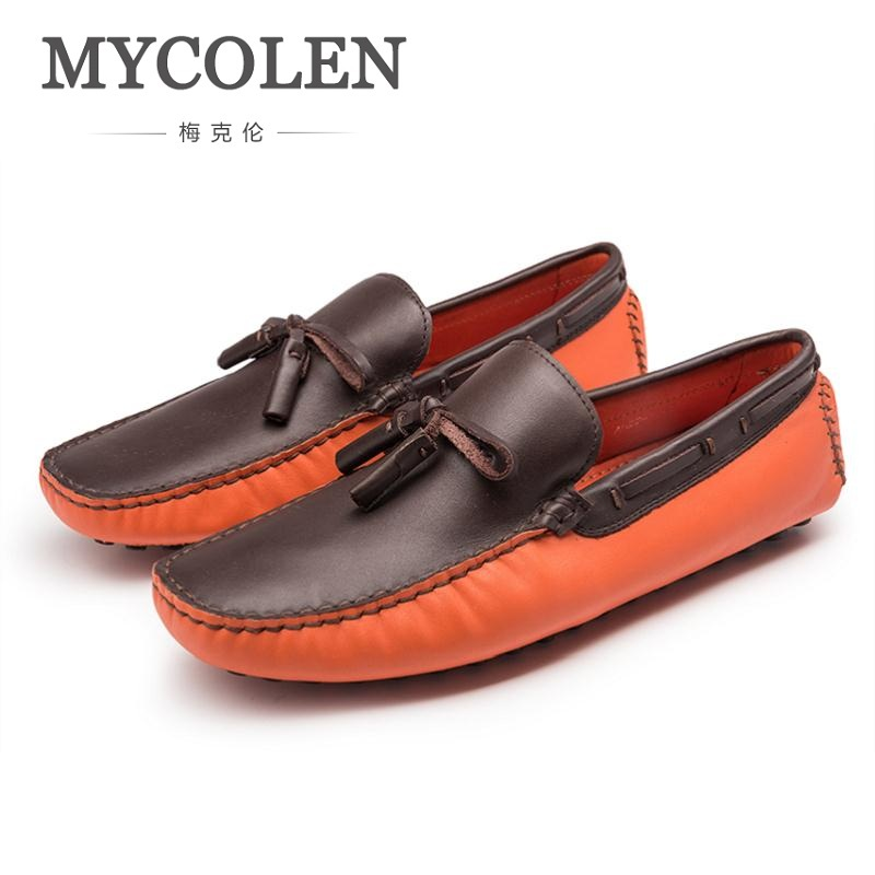 MYCOLEN Brand Fashion Spring Autumn Soft Leather Patchwork Men Peas Loafers High Quality Shoes Men Flats Young Driving Shoes 2017 spring and summer new leather men leisure low to help peas shoes soft and comfortable sets of feet driving shoes