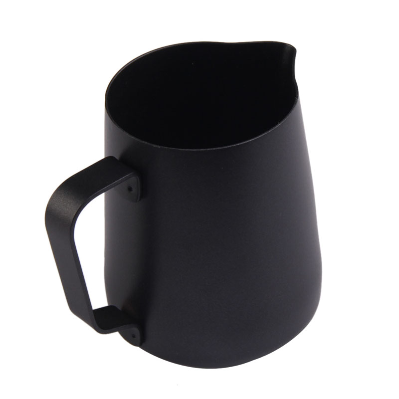 Black Non-stick Coating Coffee Mug Cup Jug Stainless Steel Espresso Milk Coffee Frothing Jug Tamper Cup Mug 350ml Perfect