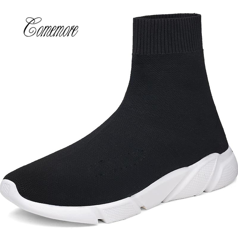 Comemore  Summer Sneakers Men Shoes Sport Women Running Socks Shoes Male Sports Shoe High Top Chaussure Homme Black Walk