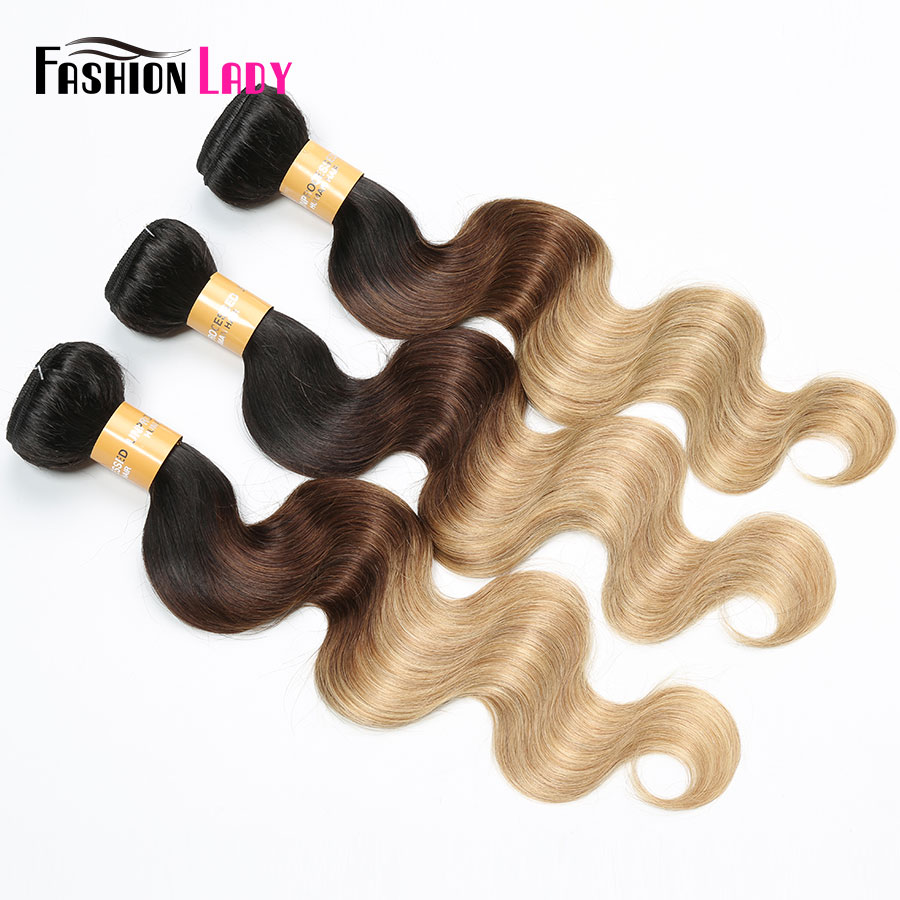 Fashion Lady Pre-Colored Indian Human Hair Weave Body Wave Ombre Hair Bundles 1b/4/27 3 Tone 3/4 Bundles Per Pack Non-Remy