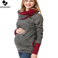 Chivry Autumn Maternity Sweatshirt Breastfeeding Clothes Hooded Pregnant Hoodies Women Nursing Tops Pregnancy Sweatshirt