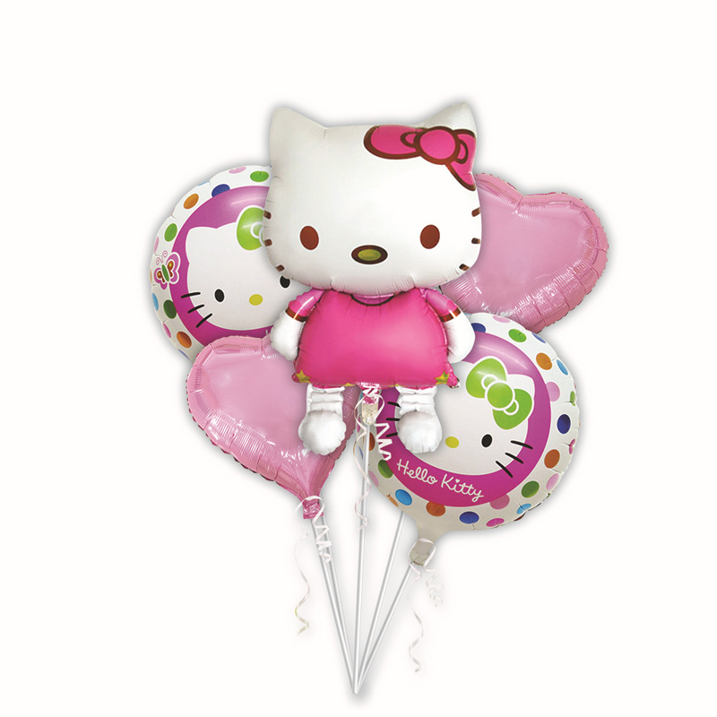 5pcs/set Cute Hello kitty Foil Air Balloons Kids Classic Toys Birthday Party Decorations Cartoon Balloons Holiday Party Supplies
