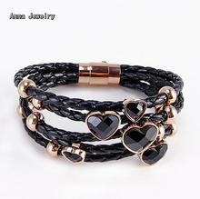 New Fashion Designer Black Leather Weave Bracelet,5 Circles Style Chain,With Black Onyx Heart Charm,Womens Trendy Bracelets Sale