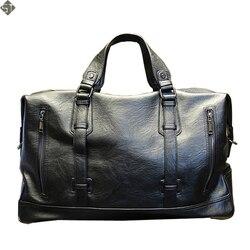 Bolsos de viaje de moda para hombre, bolso de lona impermeable para equipaje, bolso de gran capacidad, bolso de cuero informal de alta capacidad