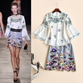 Stunning! New 2017 spring summer fashion floral embroidery flare sleeve women tops blouse + cute mini skirt two piece set suit