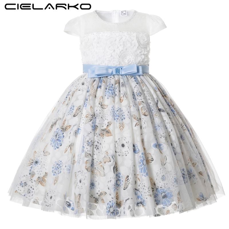 f5a6222cc648a71 Cielarko/розовое белое свадебное платье с цветочным узором для девочек, детское  вечернее бальное платье