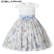 Cielarko Girls Party Dress Flower Lace Kids Princess Birthday Dresses Formal Floral Occasion Children Prom for 2 11 Years