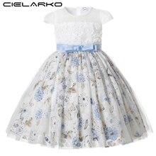 Cielarko/вечерние платья для девочек кружевные Детские платья принцессы с цветочным рисунком для дня рождения торжественное платье с цветочным узором для выпускного вечера для детей от 2 до 11 лет
