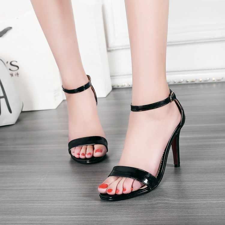Duży rozmiar 11 12 13 14 wysokie obcasy sandały damskie buty kobieta lato panie z otwartymi palcami zakrętu obręczy małe okrągłe głowy w porządku z sandały