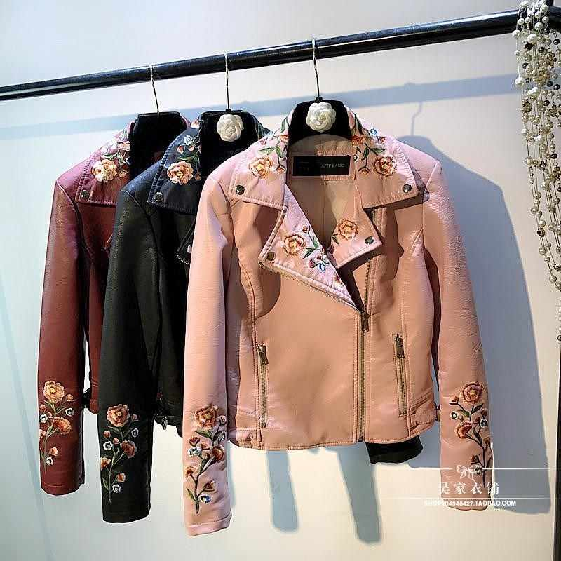 Embroidered Leather Jacket Ladies Spring Autumn Flowers Embroidered Lapel Motorcycle Pu Leather Jackets Slim Short Coat Women
