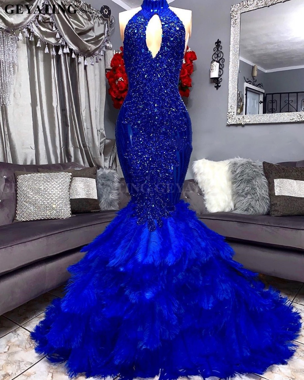 Royal Blue Feathers Mermaid Prom Dress 2019 Elegant Cut-out High Neck Applique Beaded Plus Size African Graduation Evening Gowns