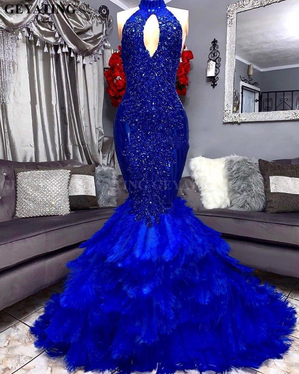 Royal Blue plumes sirène robe de bal 2019 élégant découpé col haut Applique perlée grande taille africaine Graduation robes de soirée