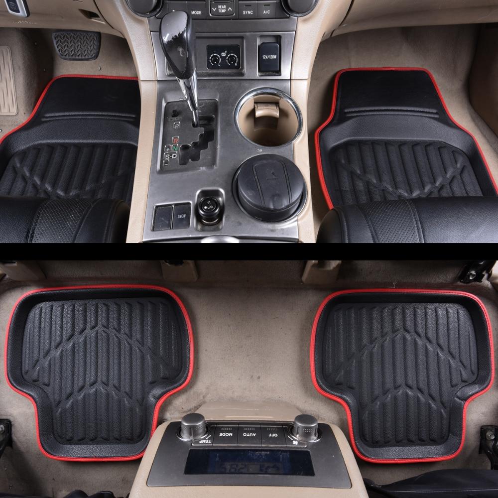 Car-pass Universal Car Floor Mats Pvc Leather Red 4 Pieces Front & Rear Car-Styling Skidproof Mat Waterproof Floor Mats