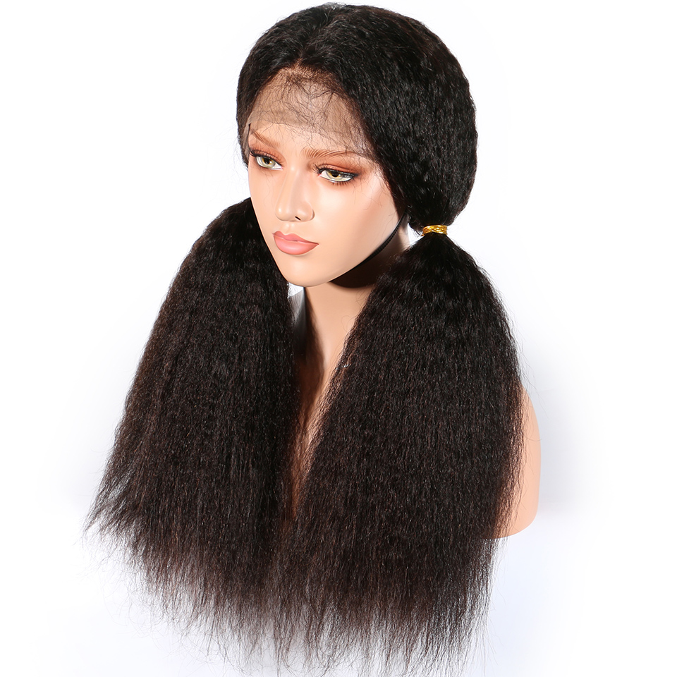 Kinky Straight Lace Front Human Hair Wigs Brazilian Remy Lace Human Hair Wig For Women Natural