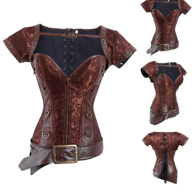 2017 Factory Directly Plus size Gothic Clothing Corselet Vintage Retro Warrior Corset Sexy Steel Boned Brocade Steampunk Corset