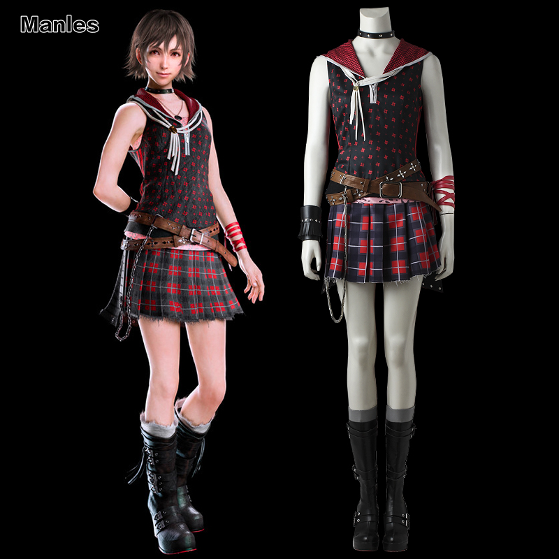 Final Fantasy XV Iris Amicitia Costume Cosplay Fancy Dress Skirt Halloween Carnival Outfit sleeveless Adult Girls Game Clothes
