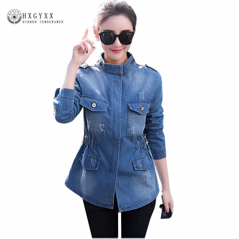Autumn Plus Size Denim Jacket Jeans Coat Women Clothing Fashion Pocket Zipper Casual Female Windbreaker Casaco Feminino OKD205