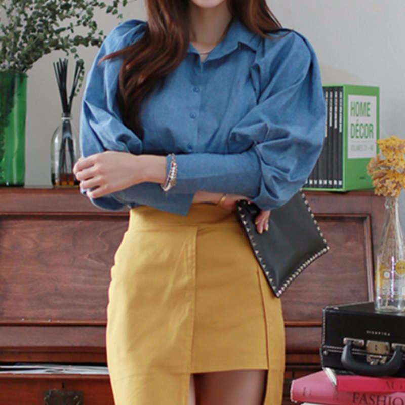 blue Lantern Sleeve fall blouse 3