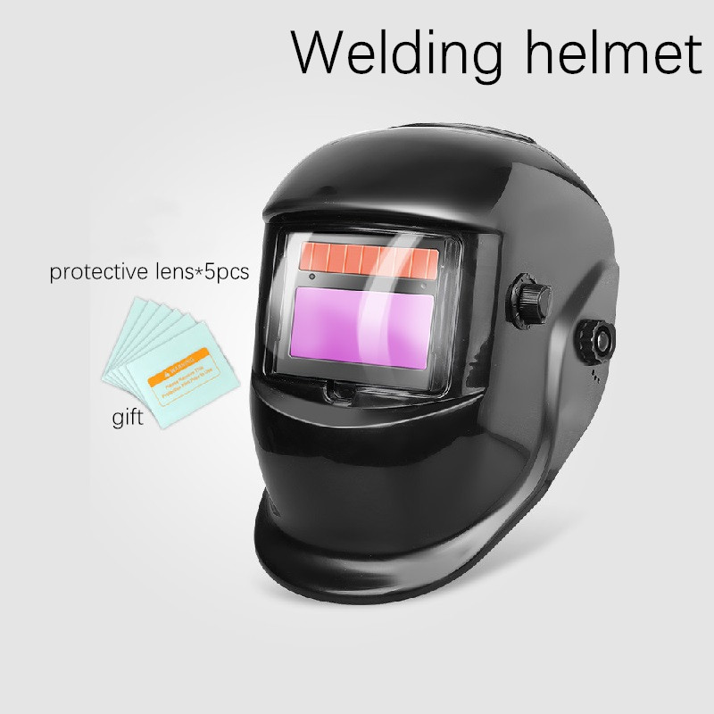 Solar Power Auto Darkening Welding Helmet Wide Shade Range 4/5-9/9-13 Grinding Feature Extra Lens Covers Good for TIG MIG MMA