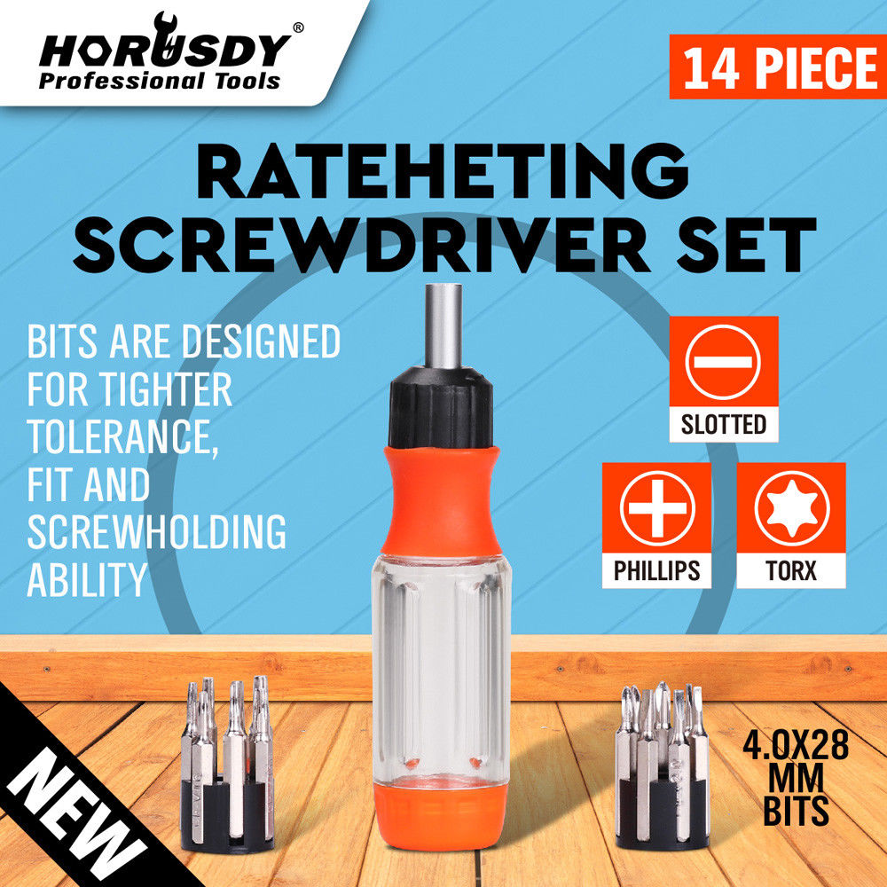 HORUSDY 14 in1 Ratchet Screwdriver Set Flat Torx Bit Household General Tools Drive Tackle Portable Hand Tool