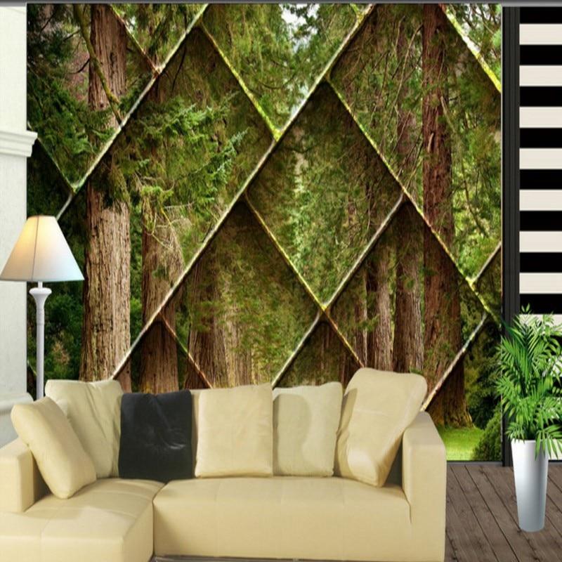lobby studio background wall tv 3d landscape mural forest living custom