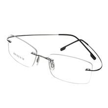 829b76b841 Designer Brand Style Flexible Memory Metal Rimless Eyeglasses Frame for  oculos de grau Glasses Optical Frame