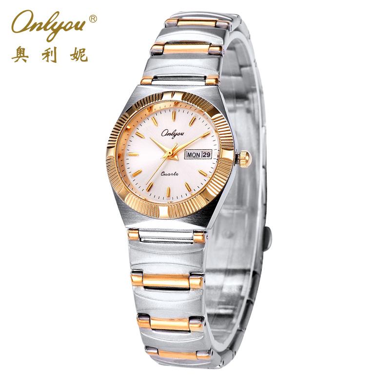 Prix pour Onlyou Femmes Montres De Luxe Marque Femmes D'affaires Montre À Quartz Or Acier Inoxydable Femme Homme Horloge Relogio Feminino Cadeau 8836