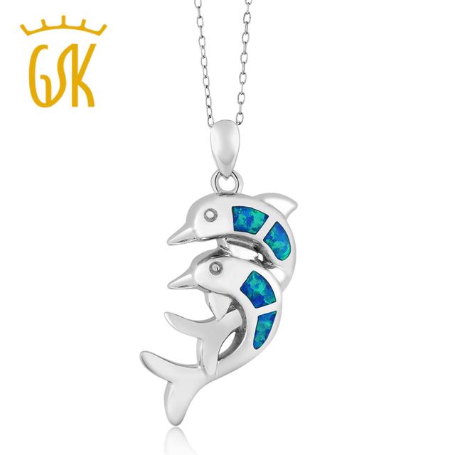 Sólido 925 sterling silver criado jóias de opala azul gemstoneking twin dolphin colar pingente para mulheres