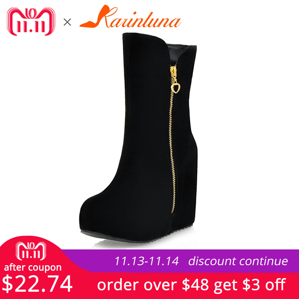 KARINLUNA Brand New Wedges High Heels Zip Solid Platform Shoes For Women Casual Winter Mid-Calf Boots Black Big Size 32-43 brand new winter quality women mid calf wedges boots fashion black red beige lady riding shoes eym02 plus big size 10 43