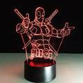 LED Night Lights Marvel Anti-hero Deadpool Color Changing Light 3D Illusion Decor Lamp Creative 3D illusion Lamp