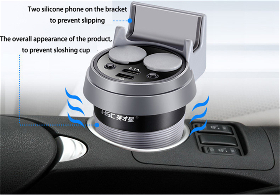 Brand HSC 12-24V 3.1A high speed Output USB Car Charger  Quick Charge Car Cup Holder Car Cigarette Lighter Socket Adapter (7)