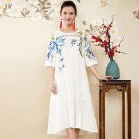 Хлопок китайский стиль вышивка свободное платье 2018 Новое Брендовое подиумное женское весеннее летнее платье высокого качества плюс размер