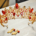 Gold Plated Crown Tiara Bridal Wedding Hair Accessories Red Crystal Rhinestone Hair Jewelry Tiaras Bijoux Cheveux De Tete HG213