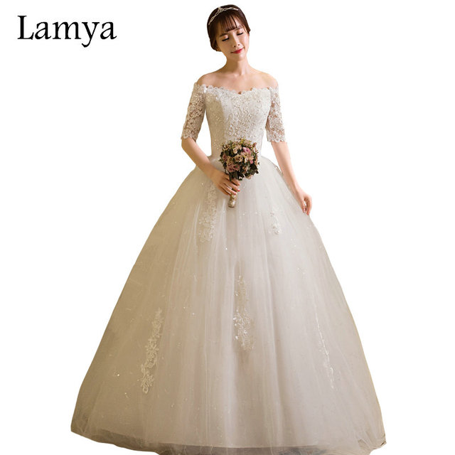 LAMYA Wedding Dresses 2018 Princess Vintage Half Lace Sleeve Bridal Gowns  Elegant Plus Size Cheap vestido de noiva 738aa3e6ffe1
