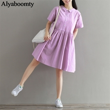 3c6d2d61bbc Japan Style Mori Girl Summer Cute Women Dress Peter Pan Collar Purple  Casual Loose Female Elbise