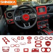 цена на SHINEKA Car Interior Mouldings Kit Red Carbon Fiber Decal Kit Stiker 2018 for Jeep Wrangler JL Sport Rubicon Sahara Unlimited
