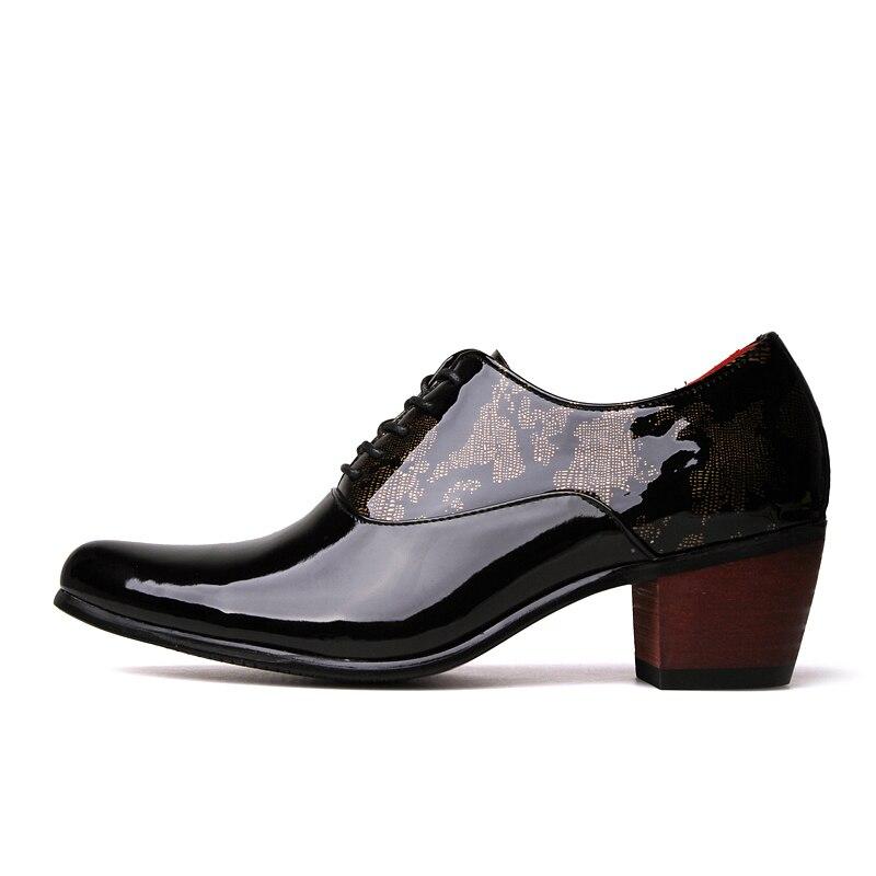 Derby Boate Zapato Desgaste Do Grossos Saltos 6 Oxfords Couro Partido De Homens Lace Hombre Altos Cm Toe Patente Sapato Moda Sapatos up Apontou UAp1qpzw