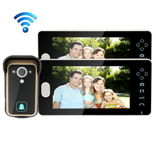 Free Shipping 2.4G Wireless 7″ Touch Color TFT LCD Video Door Phone Intercom 1 Waterproof Doorbell Camera 2 Screen WHOLESALE