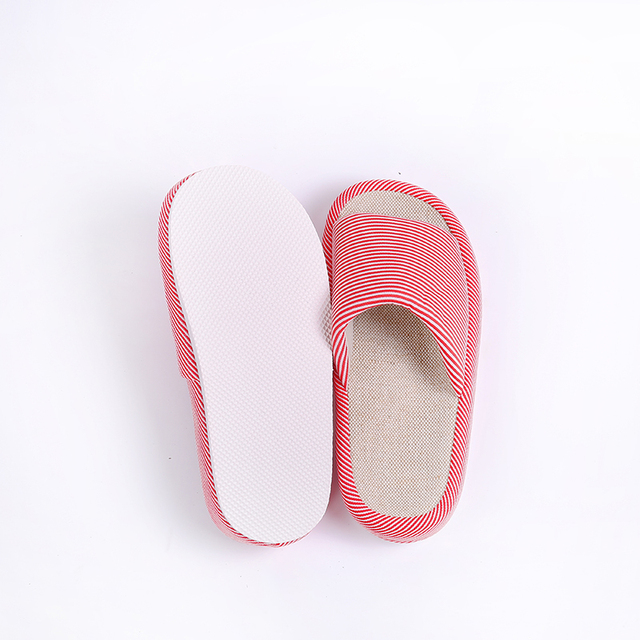 Spring Autumn Home Women Slippers Open Toe Linen Anti Slip Striped Flip Flops Casual Indoor Outdoor Sandals Fashion Woman Shoes