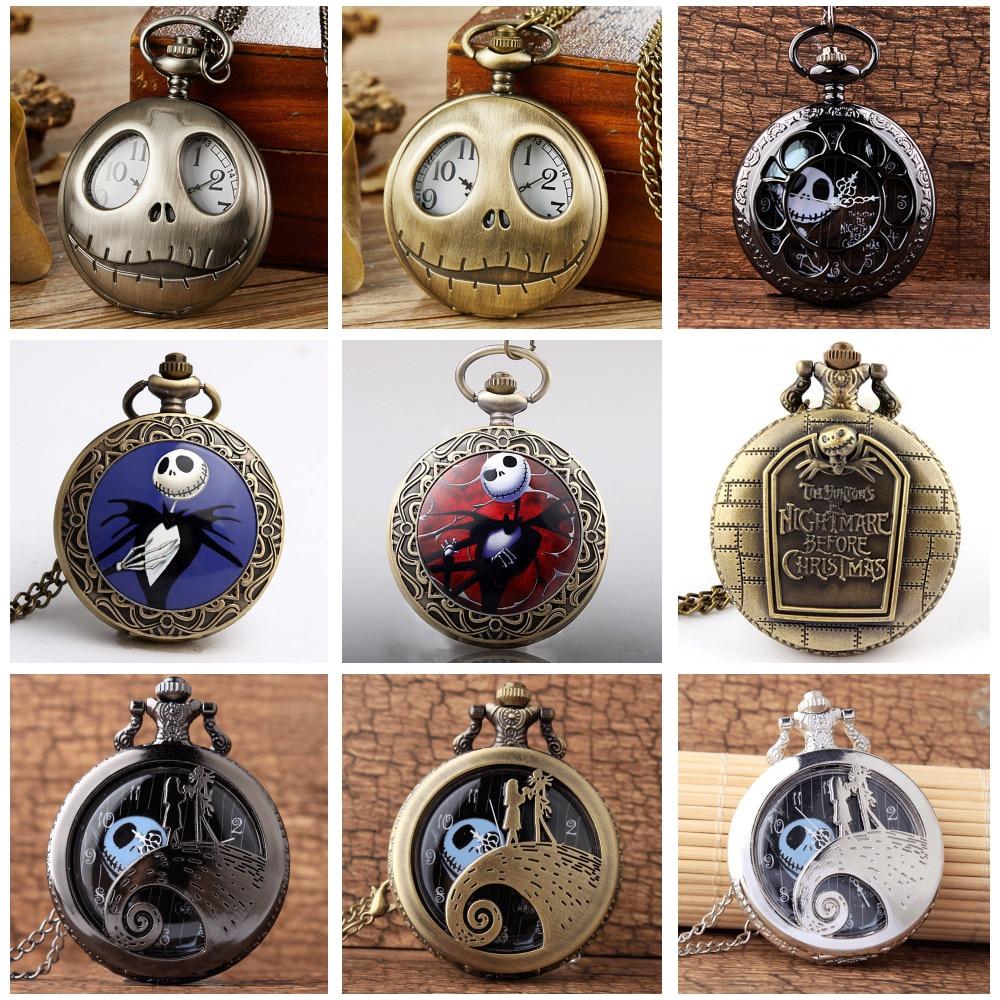 Tim Burton The Nightmare Before Christmas Quartz Pocket Watch Jack Skellington Bronze Pendant Necklace Flip Clock For Men Women