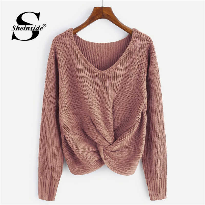 Sheinside Rosa V Neck Twist Front Chunky Pullover Casual Pullover Frauen Pullover 2018 Herbst Winter Tops Für Frauen Gestrickte Pullover