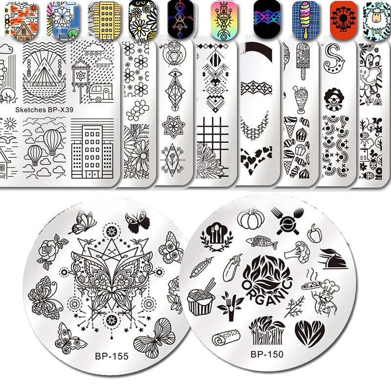 BORN PRETTY Nail Stamping Template Geomrtry Round Square Flower French Tip Stamp Plates Manicure Nail Art Image Plate