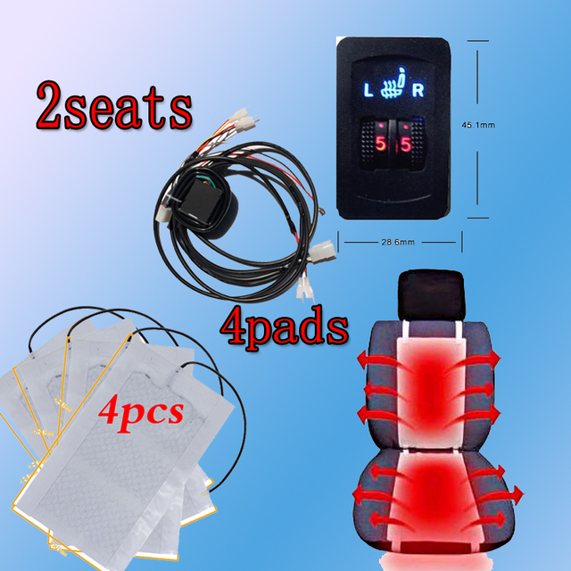 Warmer Seat Covers 12V 2 Seats 4 Pads Universal Carbon Fiber Heated Seat Heater heating 12 V Pads 2 Dial 5 Level Switch Winter