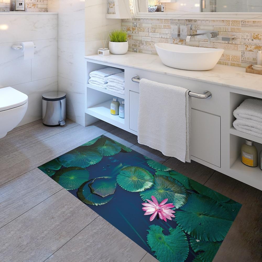 Fleur feuilles 3D autocollants de sol amovible anti-dérapant étanche décalcomanie autocollant mur salle de bains salon chambre décor 60x120 cm