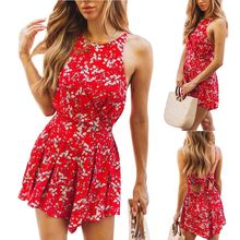 Women Ladies Summer Holiday Sleeveless Halter Backless Boho Floral Mini Skater Wrap Dress Sundress