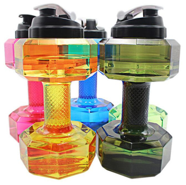 2.2L Dumbbells Shaped Plastic Big Large Capacity Gym Sports Water Bottle Outdoor Fitness Bicycle Bike Camping Cycling Kettle New
