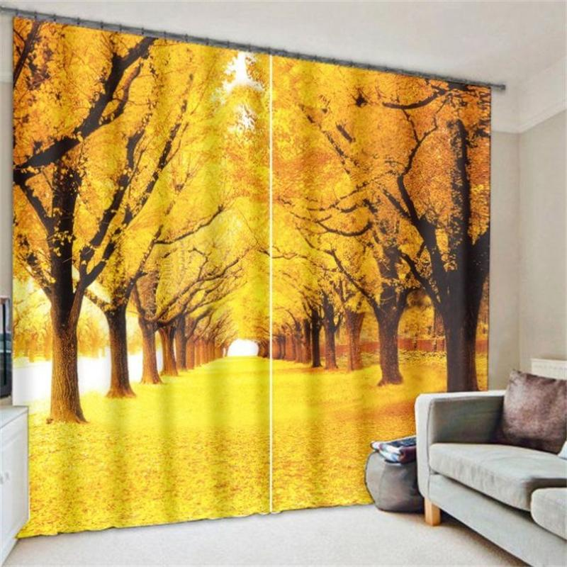 3D Printed Window Art Curtains Room Darkening Drapes Flowers Leaves Trees Snow Scenery Luxury Curtains for Living Room Bedroom