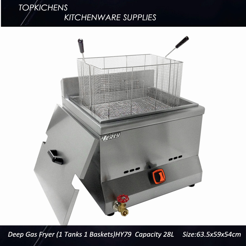 Commerical  Deep Gas fryer(1tank 1 basket)_Big Fryer_Deep Fryer 28L HY79 5l commerical vertical churro maker with 6l deep fryer latin fruit machine spanish fritters